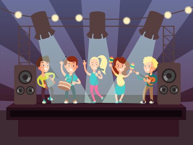 Espectáculo musical con banda de niños tocando rock en el escenario ilustración vectorial de dibujos animados