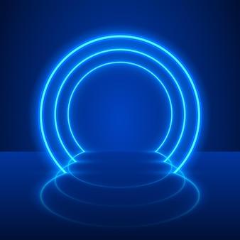Espectáculo de neón luz podio fondo azul. ilustración vectorial