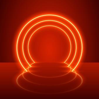 Espectáculo de neón podio luz fondo rojo. ilustración vectorial