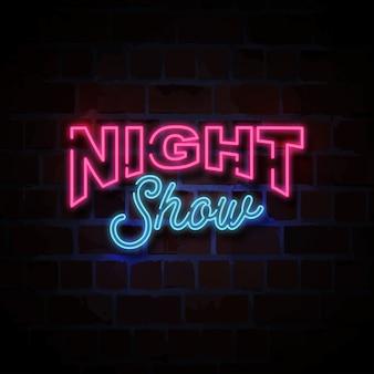 Espectáculo nocturno estilo neón signo ilustración