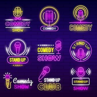 Espectáculo de standup. club de comedia de micrófono retro, logotipos de neón, identidad de comediante