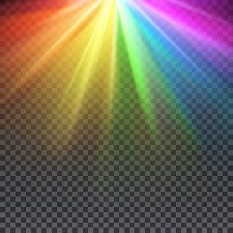 Espectro del resplandor del arco iris con la ilustración de colores del orgullo gay.