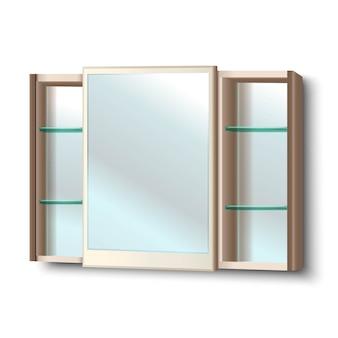 Espejo de baño con estantes. aislado en blanco