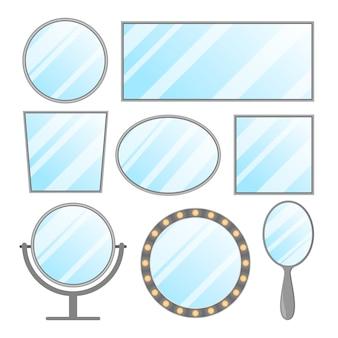 Espejo conjunto aislado. decoración de interiores en marco, círculo y forma ovalada. elemento de mobiliario rectangular. espacio en blanco para la reflexión.