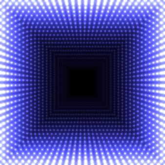Espejo led abstracto fondo cuadrado. luces azules ardientes se desvanecen hacia el centro.
