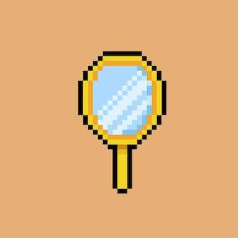 Espejo de mano con estilo pixel art