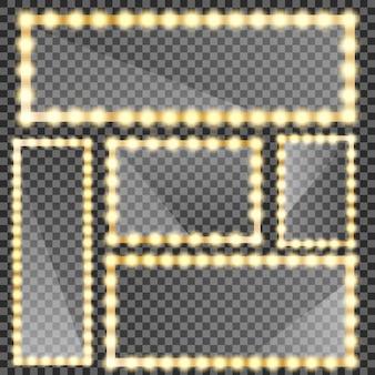 Espejo de maquillaje aislado con luces doradas. marco de espejos de círculo y rectángulo con bombillas y reflejo de espejo.