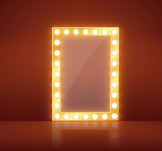 Espejo de maquillaje aislado con luces doradas.