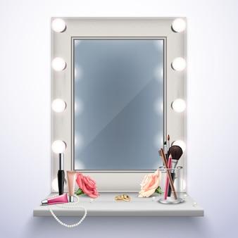 Espejo de maquillaje cosméticos y joyas para la ilustración de vector de composición realista de novia