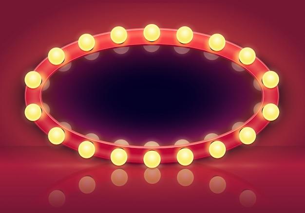 Espejo para maquillarse. marco de espejos de luces, bombillas e ilustración interior del vestidor detrás del escenario