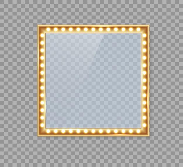 Espejo en marco con luces doradas con luces de maquillaje ligeras en vestuario o trastienda.