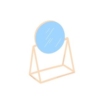 Un espejo de mesa redondo aislado en un fondo blanco. ilustración vectorial.