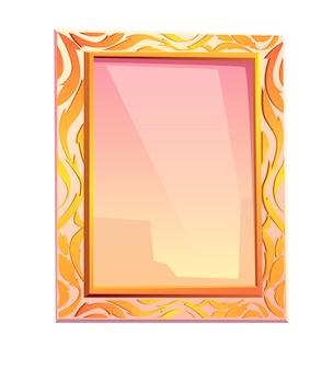 Espejo real en marco dorado con decoración floral