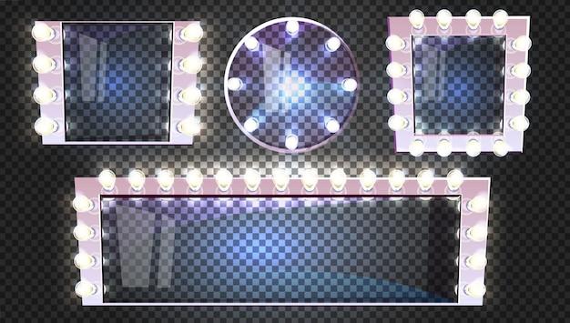 Espejos de maquillaje de diferentes formas con lámparas bombilla ilustración moderno marco de plata