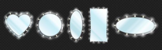 Espejos de maquillaje en marco negro con bombillas aisladas sobre fondo transparente