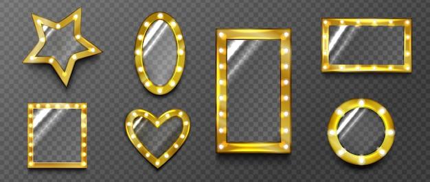 Espejos retro, vidrio con marcos de lámparas doradas, bordes de carteles vintage de hollywood