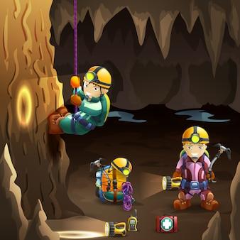Espeleólogos en el cartel del fondo de la cueva 3d
