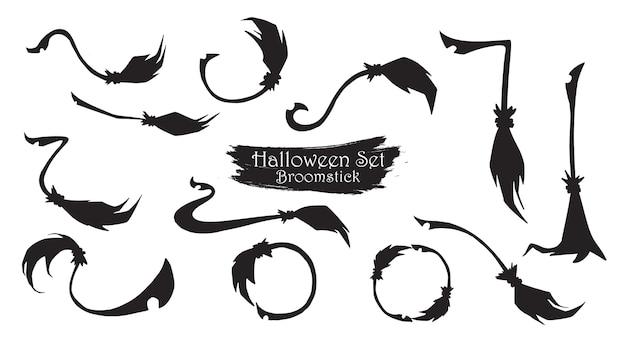 Espeluznante colección de silueta de escoba de halloween