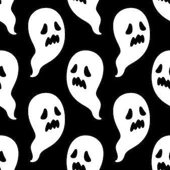 Espeluznante patrón sin costuras halloween fantasma dibujos animados