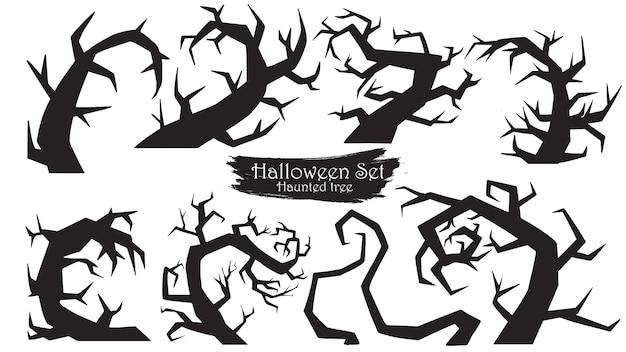 Espeluznante silueta de árboles colección de halloween