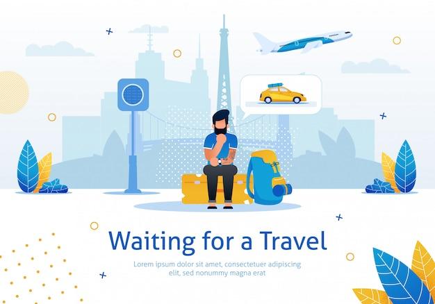 A la espera de banner de promoción de vector plano de viaje