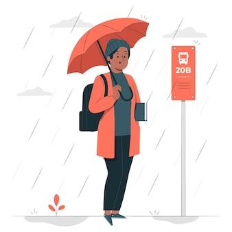 Esperando bajo la lluvia ilustración del concepto