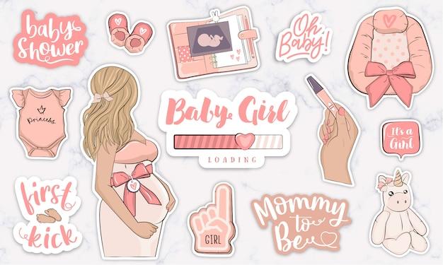 Esperando pegatinas de imágenes prediseñadas de vivero de baby girl para scrapbooking