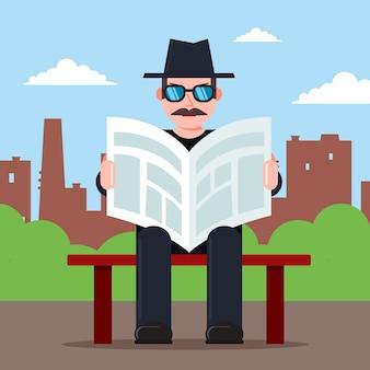 El espía se sienta en un banco con un periódico en sus manos y un sombrero. personaje de observador secreto ilustración de vector plano