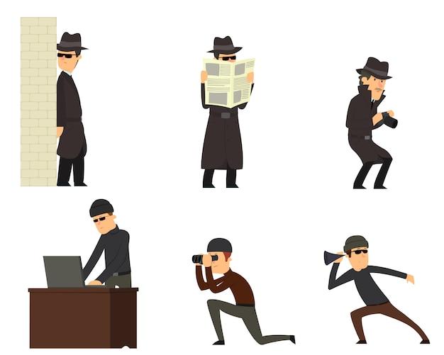 Espías aislados en blanco