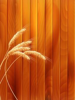 Espigas de trigo sobre tabla de madera.
