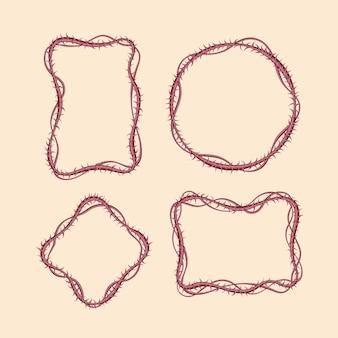Espinas realistas bordean varios diseños