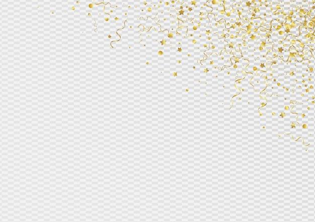 Espiral amarilla celebrar fondo transparente. rama de cinta de carnaval. invitación de confeti divertido. cartel de papel dorado.