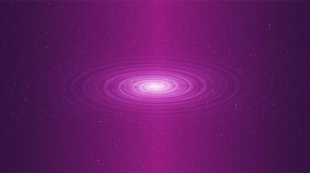 Espiral cósmica de luz agujero negro sobre fondo de galaxia con espiral de la vía láctea, universo y concepto estrellado,
