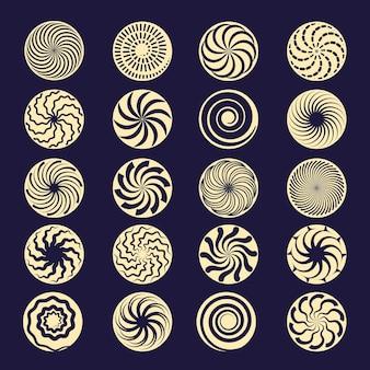 Espiral hipnótica. las formas de movimiento radial negro giran elementos de trazo.