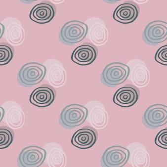 Espirales blancas, azules y verdes oscuras en patrón geométrico para niños. fondo rosa