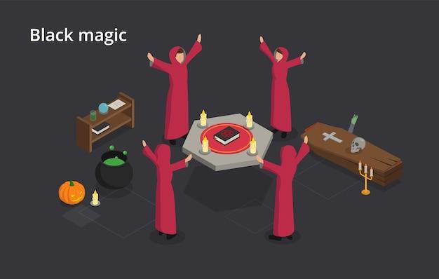 Espiritismo y concepto de magia negra. las brujas realizan el ritual de magia negra. uso de poderes sobrenaturales o magia para propósitos malvados y egoístas. ilustración isométrica sobre fondo gris.