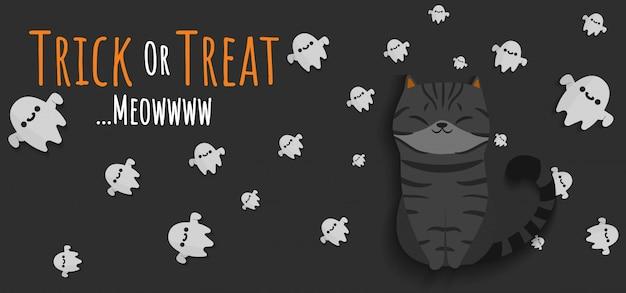 Espíritu de gato negro y fantasmas voladores con pancarta de truco o trato