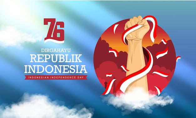 Espíritu de indonesia 76o día de la independencia o dirgahayu kemerdekaan indonesia con puño fuerte