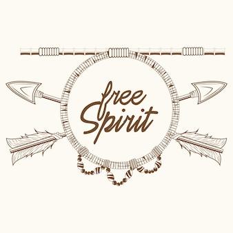 Espíritu libre flechas rústico emblema boho