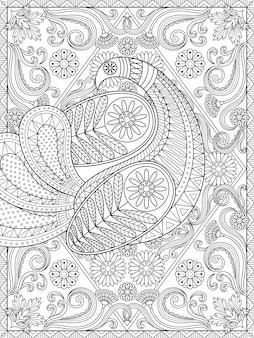 Espléndida página para colorear para adultos, elegante pavo real está mostrando su pluma