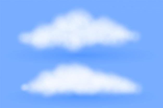 Esponjosas nubes realistas sobre fondo azul.