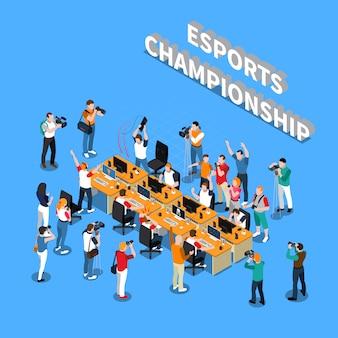 Esports championship composición isométrica