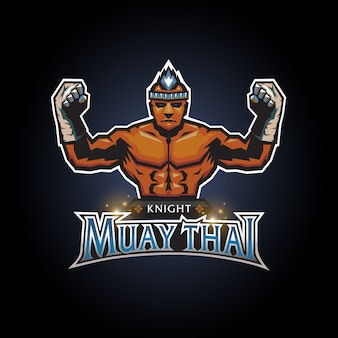Esports knight muay thai club logo diseño