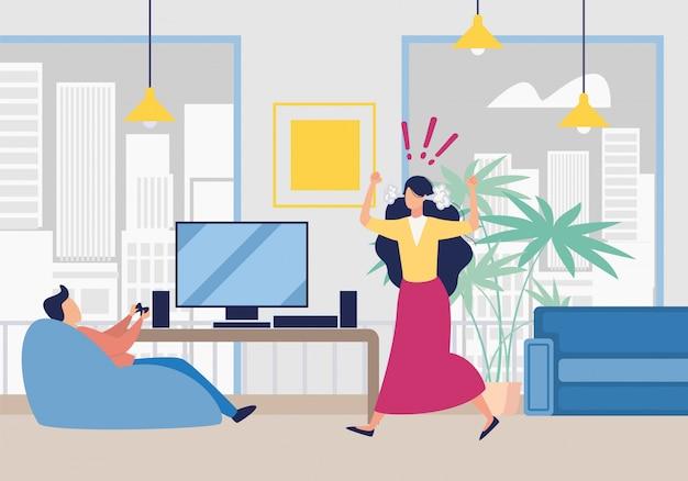 Esposa enojada gritando sobre marido jugando videojuegos