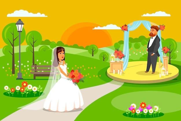 Esposa en vestido blanco velo de novia marido en traje.