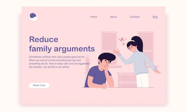 El esposo escucha atenta y amorosamente a su esposa irritada por resolver el problema de la plantilla de la página de destino