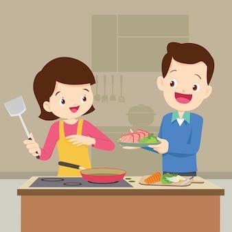 El esposo y la esposa se están preparando juntos