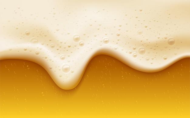 Espuma de cerveza realista con burbujas