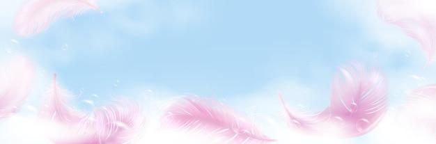 Espuma de jabón con burbujas y banner de plumas rosas.