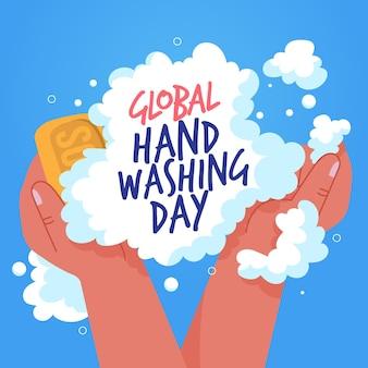 Espuma y jabón del día mundial del lavado de manos